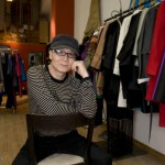 Fashion designer Huang Yue in his Sanlitun shop.