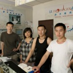 From the left: Liu Yang, Wu Yi, Xu Jiang Yo and Huang Zhi Wei in the Huilongguan shop.