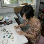 Wang Lei, Everard&Wang designer in her workshop working on a new concept.