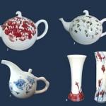 一组海上青花设计的茶壶和花瓶