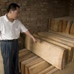 Mr Gao nous montre l'érable du Sichuan qui sèche dans son atelier.