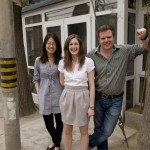 Cao Wei, Sarah Keenlyside and Tom Pattinson of Bespoke-Beijing Travel Services in Baofang hutong, Beijing.