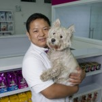 Dr Stone and his dog Stella in the recently opened Shunyi clinic in Beijing.