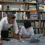Hong Kong-based architect-designer Sean Dix in his Sheung Wan office with Keikko one of his studio designer.