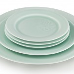 Song collection: hand turned and hand carved porcelain dinnerware collection with celadon glaze.