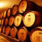 Barrels made of French oak in Grace Vineyard wine cellar in Shanxi province.