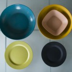 This colorful dinnerware is made of a mix of rice husk (or rice hulls) and bamboo!