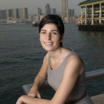 Marion Chaygneaud-Dupuy photographed in Hong Kong with Victoria harbour in the background.