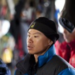 An aspiring Chinese mountain guide wearing an Ozark down jacket in the Mount Bogda base camp in the Bogda Ola range in Xinjiang, Western China. (Ph.Olivier Balma)