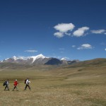 Trekking high on the Tibetan plateau North of Lhasa on the way to lake Namtso. Alt. between 4,000 and 4,500m. (Ph. Frédéric Giroir)