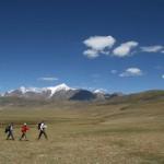 在拉萨北部的青藏高原上远足跋涉,前往纳木错湖。海拔在4,000米到4,500米之间(Frédéric Giroir摄)