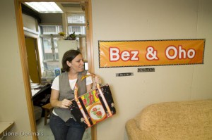 Annalisa Ryle, Bez & Oho owner with one of the handbags she makes in her office in Hong Kong.