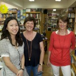 Jenny, Madeline - Parentheses owner - and Emmanuelle, the team that welcomes you at the Hong Kong French bookstore.