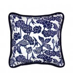 LuRu Home cushion with traditional indigo patterns made using the Nankeen technique.