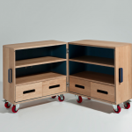 Sand's solution for keeping rooms tidy: the MM2 is a cabinet on wheels designed for children from 3 years old and up.