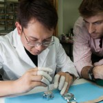 Adrien Choux at work with his watchmaker who is also based in Hong Kong.