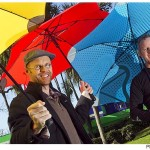New Zealanders Greig Brebner (L) and Scott Kington (R) the two founders of Blunt Umbrellas with some of their revolutionary umbrellas. (Photo Phil Doyle/ Fairfax NZ)