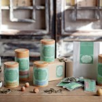 At Tranquil Tuesdays tea is packaged in boxes, packets and tins designed by the founder of the company Charlene Wang.