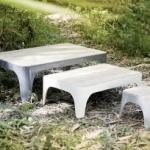 Le designer français Stéphane Bulle basé à Hong Kong a dessiné ces tables en bambou betung pour « Nookha Design ».  Elles existent en 2 tailles et une large gamme de couleurs.