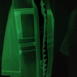 A coat which glows in the dark by Katrin Reinfurt / MPMP created during her collaboration with Walter Van Beirendonck for Paris fashion show 2014
